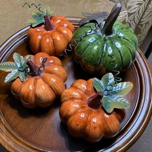 4 Ceramic Pumpkins